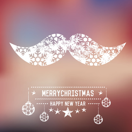 fake mask: Xmas mustache on blur background,clean vector Illustration