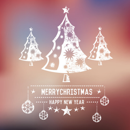 xmas background: Xmas trees on blur background,clean vector