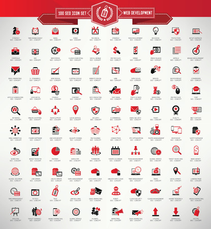internet marketing: Stock Vector Illustration: 100 SEO and web development icon set,Red version,clean vector