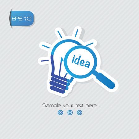 Idea symbol,sticker design,blue version,clean vector  イラスト・ベクター素材