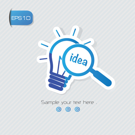 Idea symbol,sticker design,blue version,clean vector Ilustrace