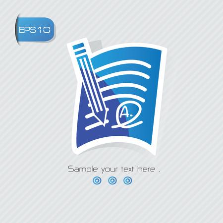 commenting: Grade A symbol,sticker design,blue version,clean vector