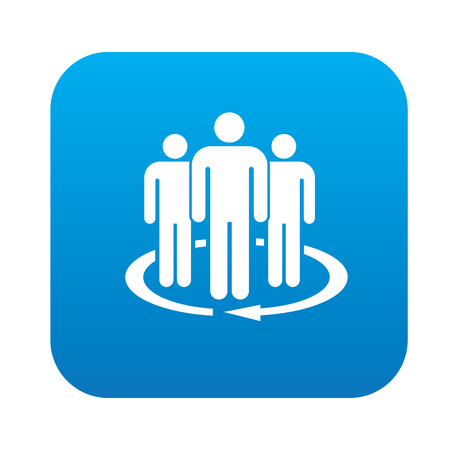 datacentre: Team service icon on blue button,clean vector Illustration