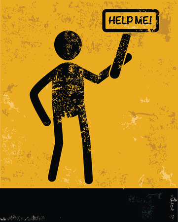 mayday: Help me concept,human resource on yellow background,grunge vector