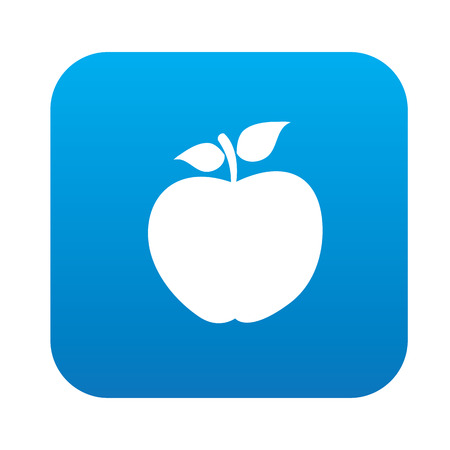 granny smith apple: Apple symbol design on blue button,clean vector