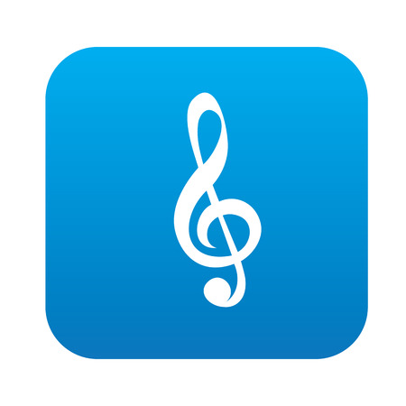 trill: Song symbol design on blue button,clean vector