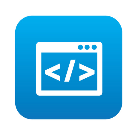 Coding on blue flat button,clean vector