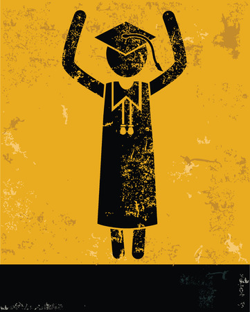 Student concept,human resource on yellow background,grunge vector Vector
