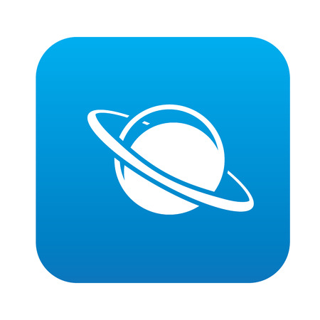and saturn: Saturn design on blue flat button