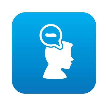 negative thinking: Negative thinking design on blue flat button