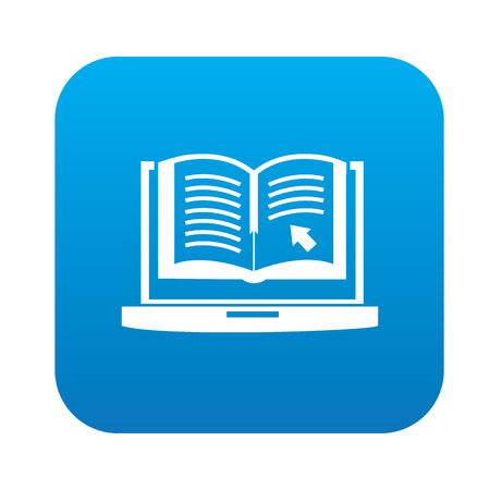 E-learning design on blue flat button Vector