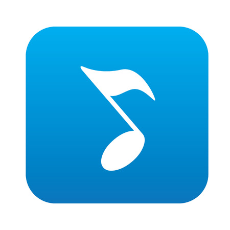 trill: Song design on blue flat button,clean vector