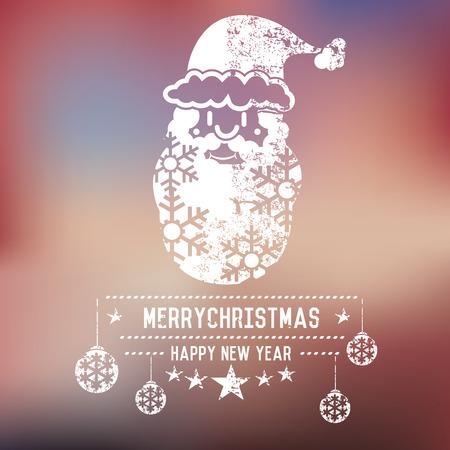 xmas background: Xmas santa on blur background,clean vector Illustration