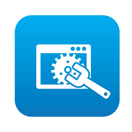Maintenance on blue flat button Illustration