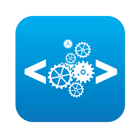 Coding quality icon on blue button,clean vector