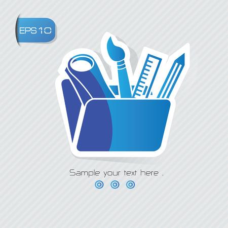 Education symbol,sticker design,blue version,clean vector Vector