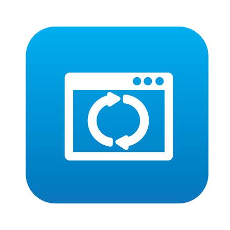 refresh button: Refresh on blue button,clean vector