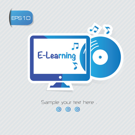 upbringing: E-learning symbol,sticker design,blue version,clean vector