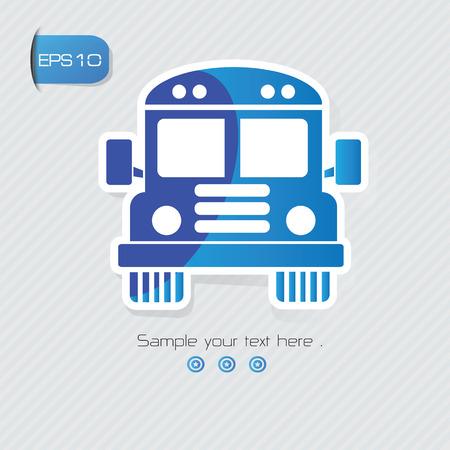lit collection: Bus symbol,sticker design,blue version,clean vector