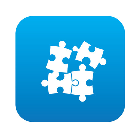 unfinished: Puzzle on blue button,clean vector