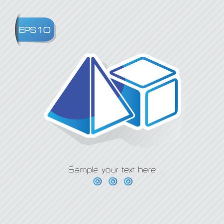 tetraedro: Simbolo Geometria, disegno adesivo, versione blu, vettore pulito Vettoriali