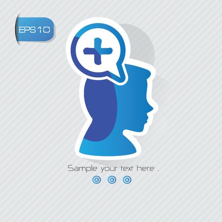 irritation: Positive symbol,sticker design,blue version,clean vector Illustration