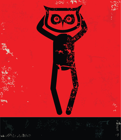 hesitating: Owl concept,human resource on red background,grunge vector