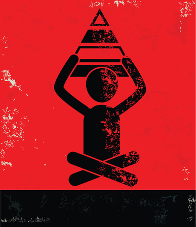 balanced scorecard: Pyramid concept,human resource on red background,grunge vector
