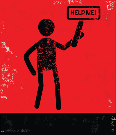 mayday: Help me concept,human resource on red background,grunge vector