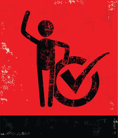 affirmative: Checking mark concept,human resource on red background,grunge vector