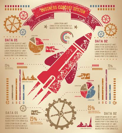 Rocket Info graphic design on old paper,grunge vector Vector