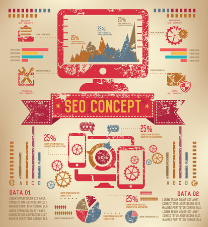 SEO Info graphic design on old paper,grunge vector