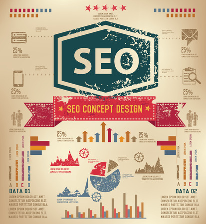 SEO concept info graphic design on old paper,grunge vector Vector
