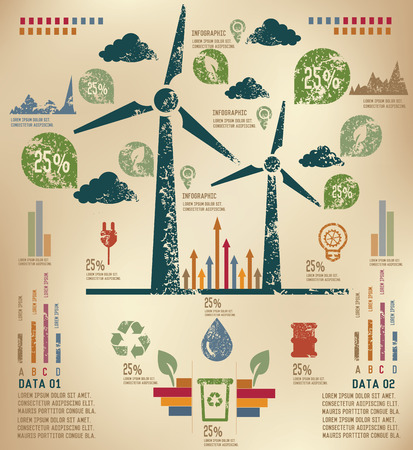 Wind turbine concept info graphic design on old paper,grunge vector