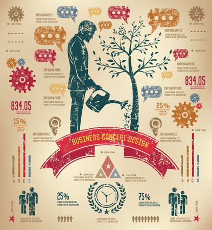 Growth business concept info graphic design on old paper,grunge vector Vector