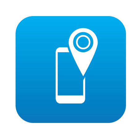 mobil: Mobile location on blue button,clean vector