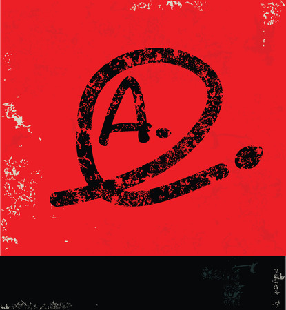 Grade A design on red background,grunge vector