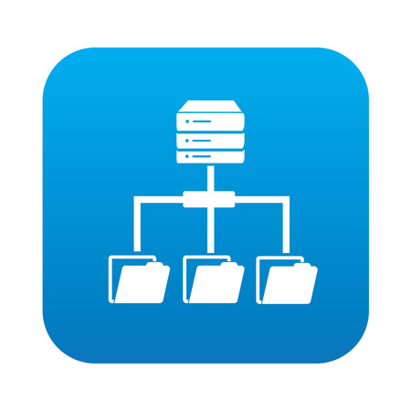 data backup: Database icon on blue button,clean vector Illustration