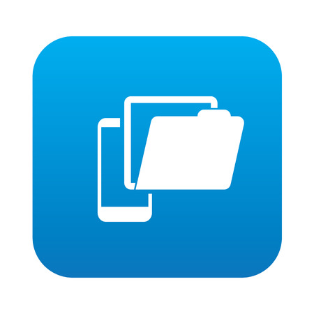 wwwrn: Folder on mobile icon on blue button,clean vector