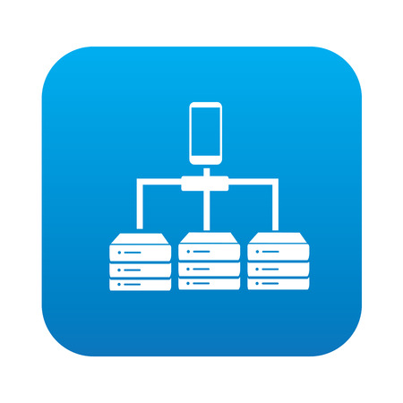 mobil: Database icon on blue button,clean vector Illustration