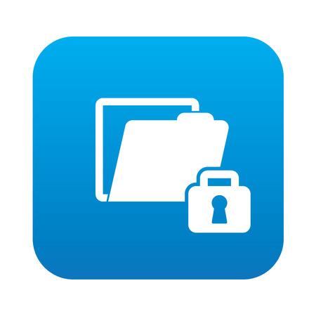Lock folder icon on blue button,clean vector