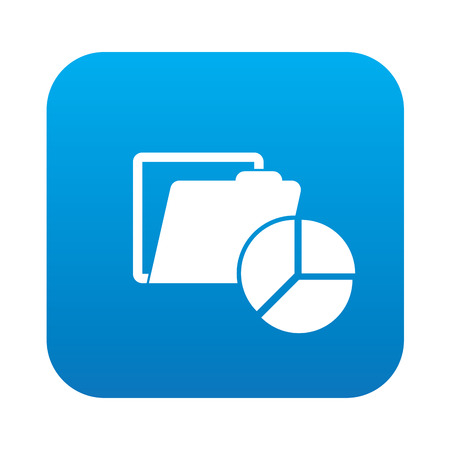Folder icon on blue button,clean vector