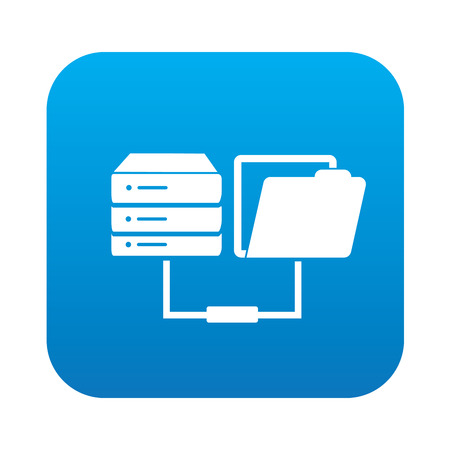 Database transfer icon on blue button,clean vector