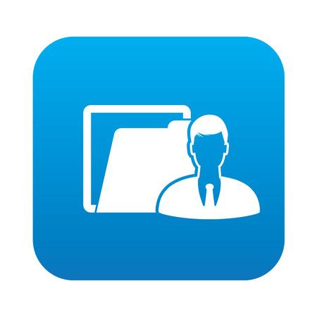 wwwrn: Folder icon on blue button,clean vector