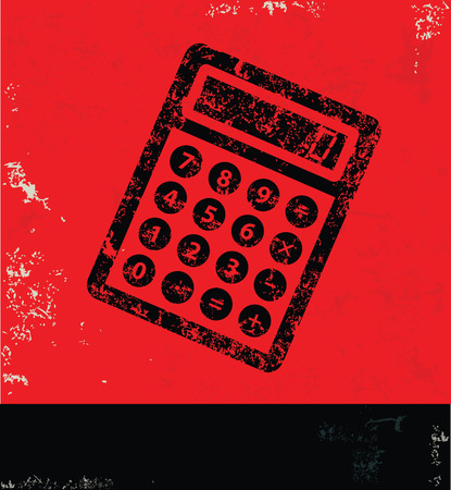 Calculate design on red background,grunge vector