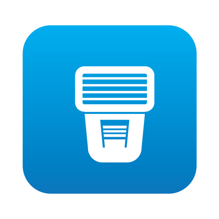 Flash icon on blue button background,clean vector Illustration