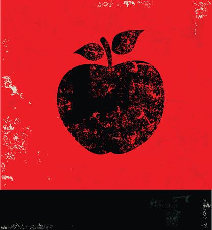 Apple design on red background,grunge vector Illustration