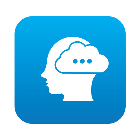 worked: brain idea icon on blue button background,clean vector