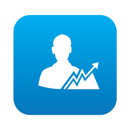 dividend: Profit icon on blue button background,clean vector Vettoriali