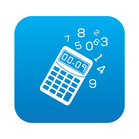 calculate: Calculate icon on blue button background,clean vector